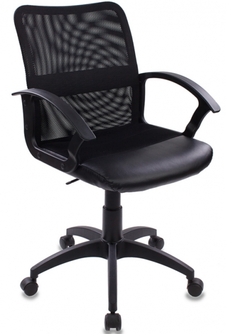 Кресло офисное CH-590 черная сетка, сиденье ткань +иск.кожа черная