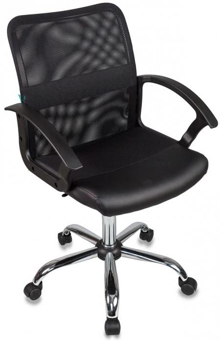 Кресло офисное CH-590SL черная сетка, сиденье ткань +иск.кожа черная хром