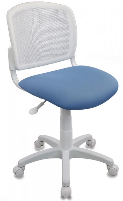 Кресло офисное CH-W296NX белый пластик и сетка, ткань голубая