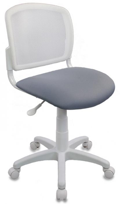 Кресло офисное CH-W296NX белый пластик и сетка, ткань серая