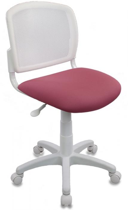 Кресло офисное CH-W296NX белый пластик и сетка, ткань розовая