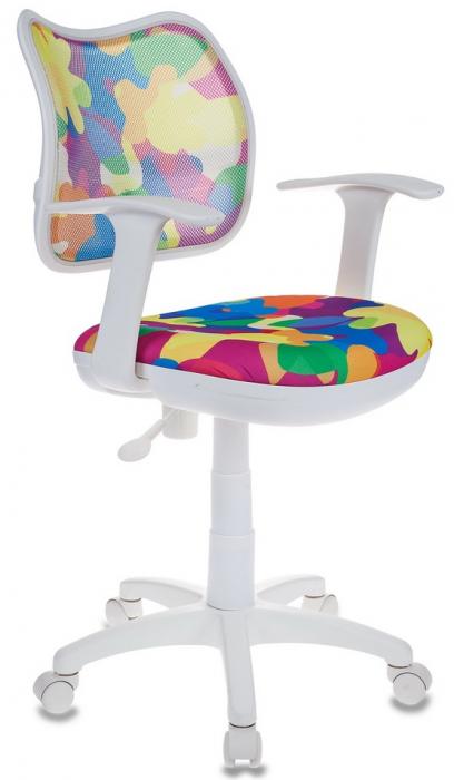 Кресло офисное CH-W797 белый пластик, сетка и ткань мультиколор