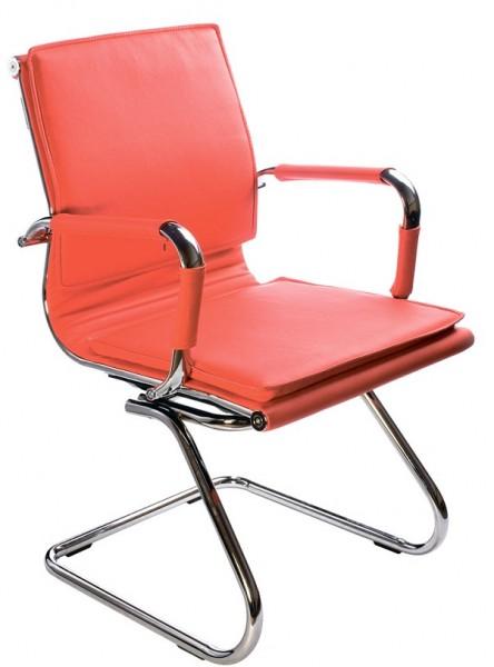Кресло посетителя CH-993-Low-V красная иск. кожа хром полозья