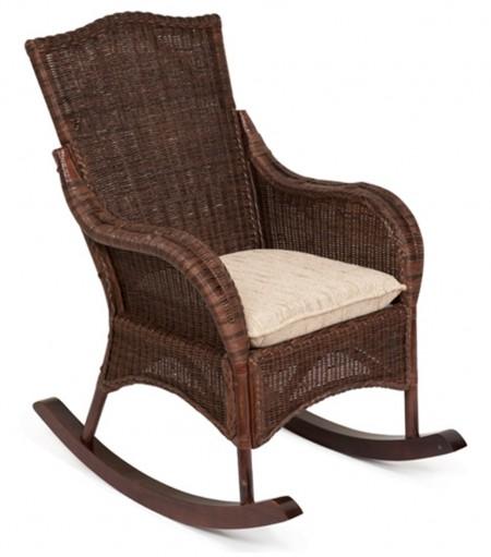 Кресло-качалка из ротанга Bali Бали + подушка цвет кофе