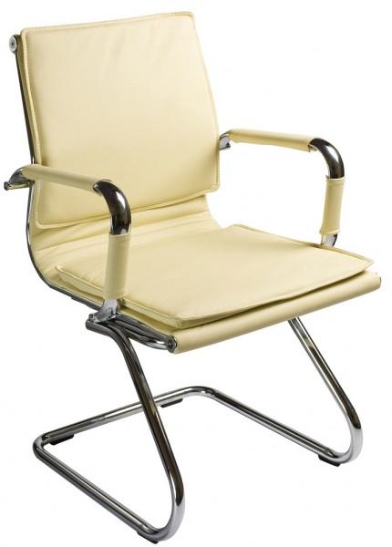 Кресло посетителя CH-993-Low-V иск. кожа слоновой кости хром полоз
