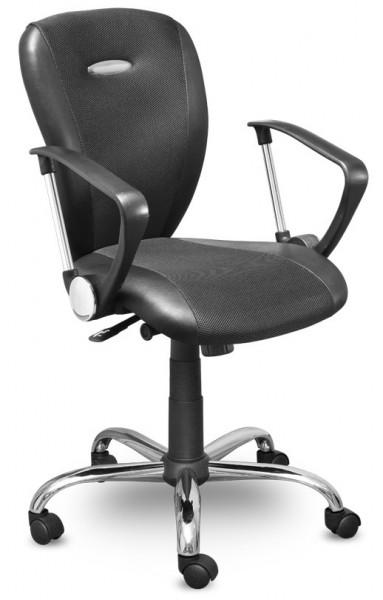 Кресло офисное MC-041 Hilton Хилтон ткань черная, экокожа, хром