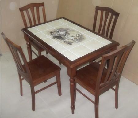 Стол обеденный CT 3045 с плиткой и рисунком Город 2, темный дуб
