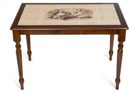 Стол обеденный CT 3045 с плиткой и рисунком Дерево, темный дуб