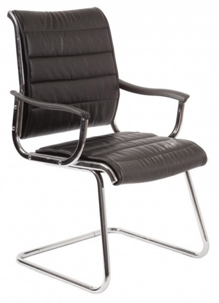 Кресло посетителя CH-994AV черная иск. кожа хром полозья
