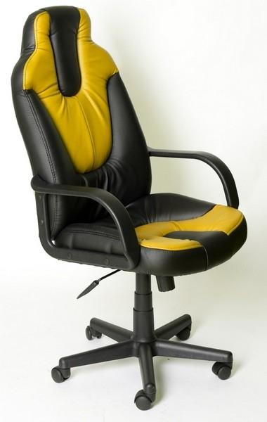 Кресло руководителя NEO1 Нео1 черная экокожа вставки желтые