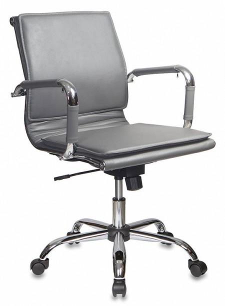 Кресло офисное CH-993-Low серая экокожа, низк спинка