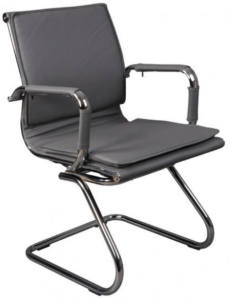 Кресло посетителя CH-993-Low-V серая иск. кожа хром полозья