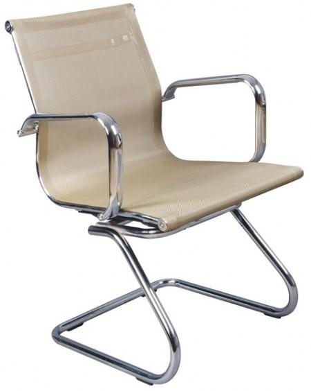 Кресло посетителя CH-993-Low-V золотая сетчатая ткань хром полозья