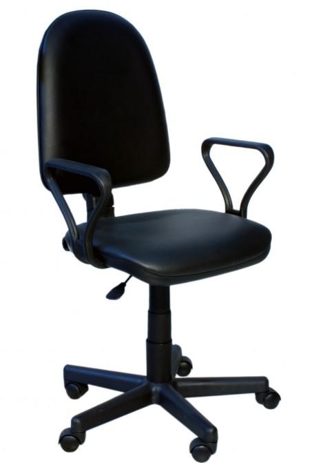 Кресло офисное Престиж кожзам черный Z-01, подлокотники Самба