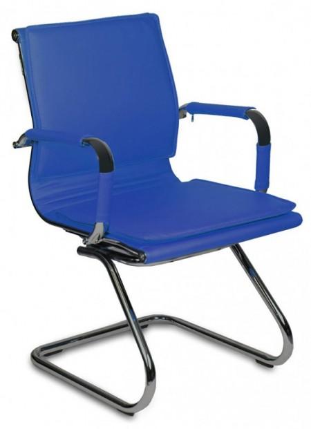 Кресло посетителя CH-993-Low-V синяя иск. кожа  хром полозья
