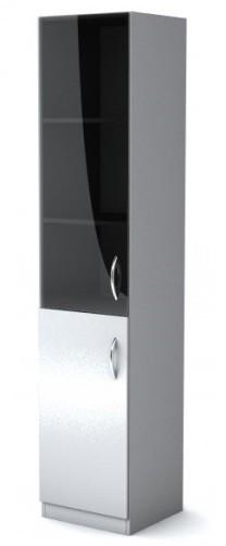 Шкаф узкий со стеклом Simple Симпл серый