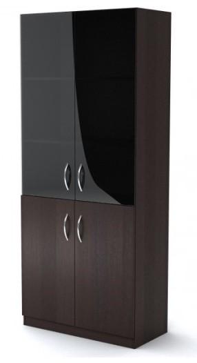 Шкаф широкий со стеклом Simple Симпл легно темный