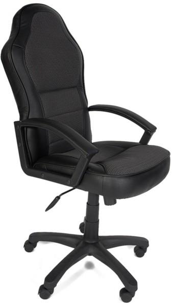 Кресло руководителя KAPPA Каппа экокожа черная вставка ткань серая