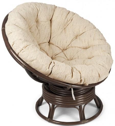 Кресло-качалка из ротанга Papasan Папасан цвет орех + подушка