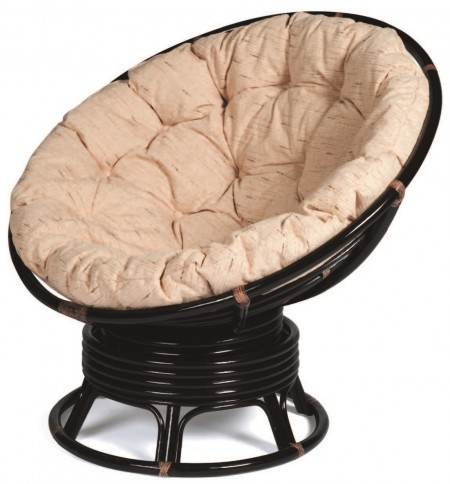 TetChair Кресло-качалка из ротанга Papasan Negro ант. коричневый + подушка