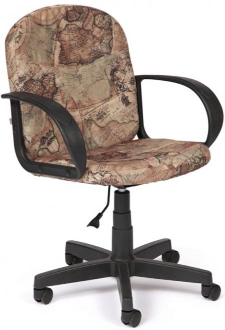 Кресло офисное BAGGI Багги ткань принт Карта на бежевом