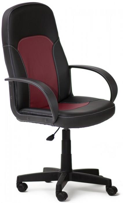 Кресло PARMA Парма черная экокожа вставка бордо