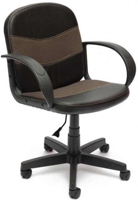 Кресло офисное BAGGI Багги черная иск.кожа вставка бежевая ткань