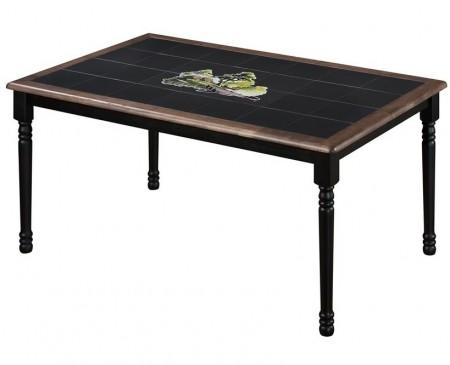 Стол обеденный CT 3760 с плиткой и рисунком Корзина с фруктами, венге