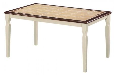 TetChair Стол обеденный ЭМИР CT 3760 с плиткой и рисунком цветы , античный белый, темный дуб