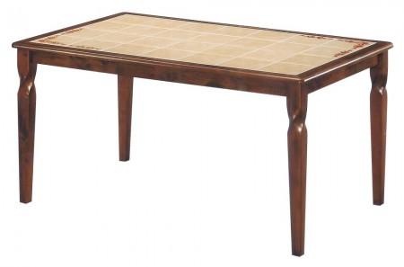 Стол обеденный ЭМИР CT 3760 с плиткой и рисунком цветы, темный дуб