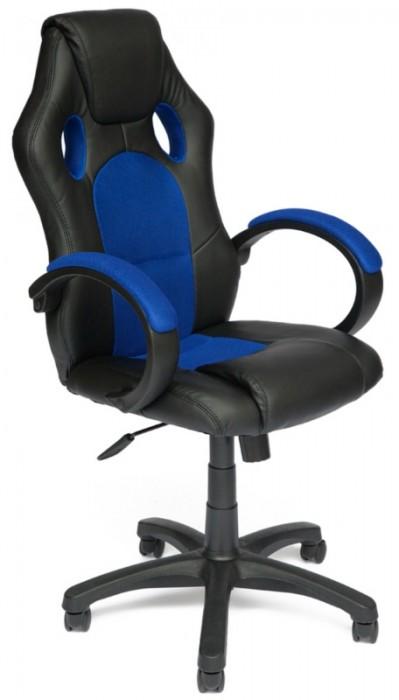 Кресло руководителя RACER GT Рейсер ДжиТи, экокожа черная, ткань синяя