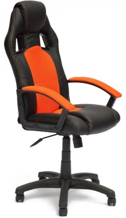 Кресло руководителя Driver Драйвер, экокожа черная, ткань оранжевая