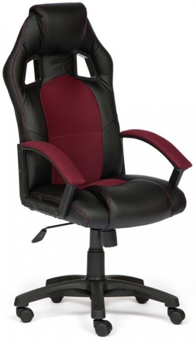 Кресло руководителя Driver Драйвер, экокожа черная, ткань бордо
