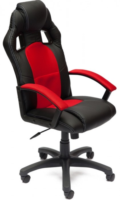 Кресло руководителя Driver Драйвер, экокожа черная, ткань красная