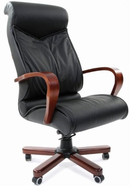 Кресло руководителя CHAIRMAN 420WD кожа черная, дерево темный орех