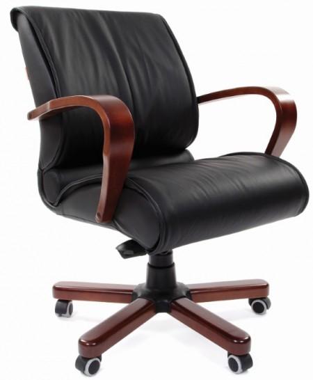 Кресло руководителя CHAIRMAN 444WD кожа черная, дерево темный орех