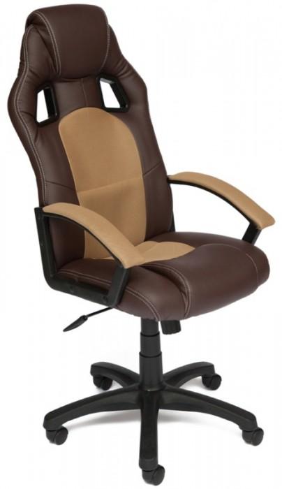 Кресло руководителя Driver Драйвер, экокожа коричневая, ткань бронза