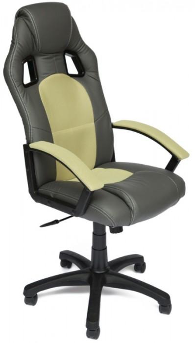 Кресло руководителя Driver Драйвер, экокожа металлик, ткань фисташковая
