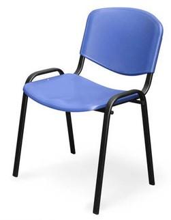 Стул для посетителя ИЗО черный каркас, пластик синий