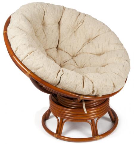 Кресло-качалка из ротанга Papasan Папасан цвет коньяк + подушка