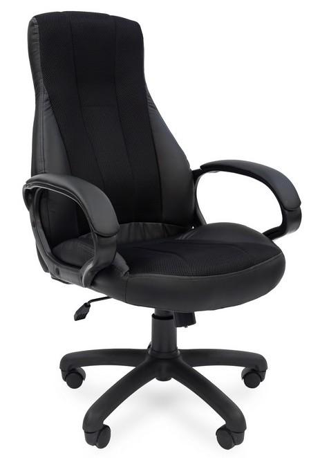 Кресло руководителя РК-190 экокожа черная вставка ткань TW-11 черная