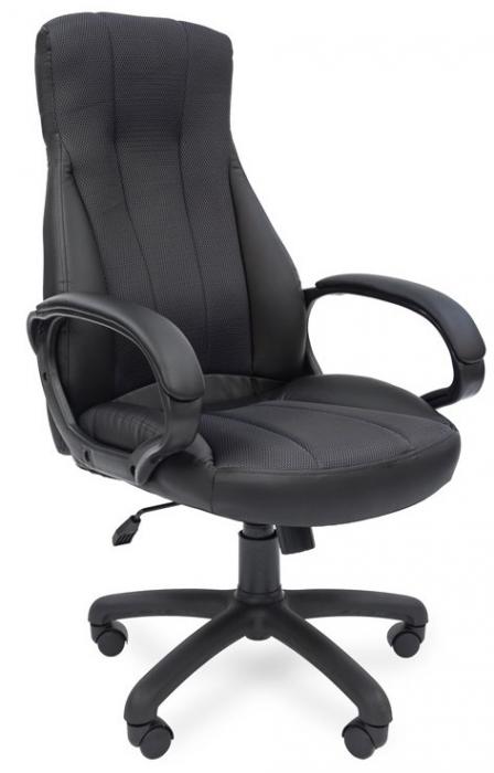 Кресло руководителя РК-190 экокожа черная вставка ткань TW-12 серая