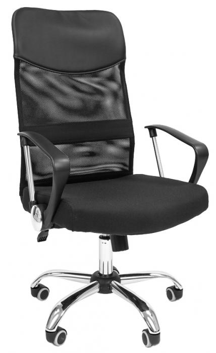 Кресло руководителя РК-160 спинка сетка ткань черная