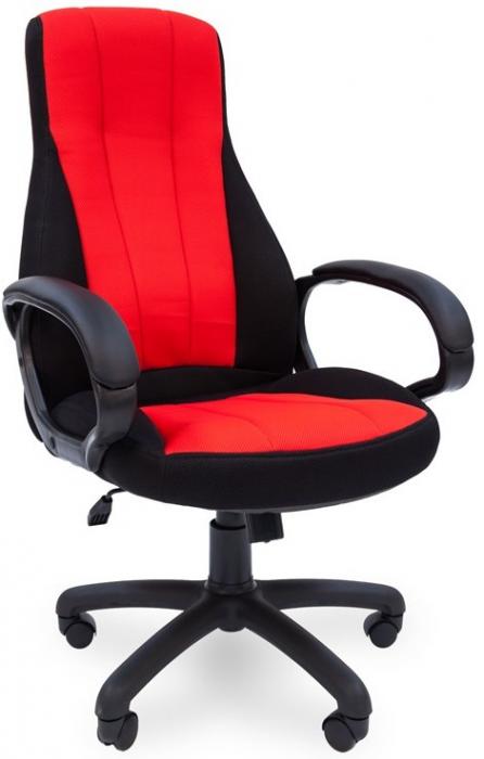Кресло руководителя РК-190 ткань черная вставка ткань красная